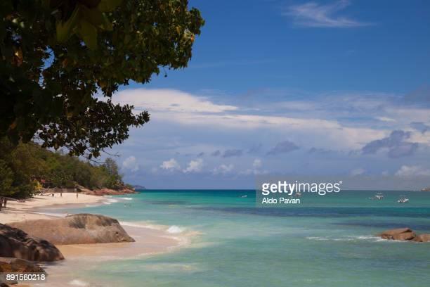 Seychelles, Praslin island, Anse Volbert, vew of the beach