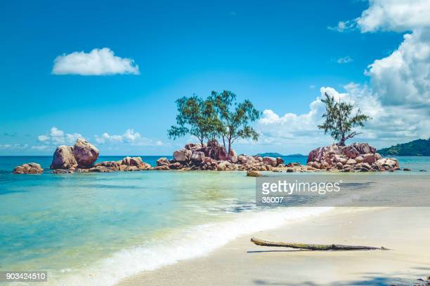 seychelles praslin island hidden dream beach - la digue island stock pictures, royalty-free photos & images