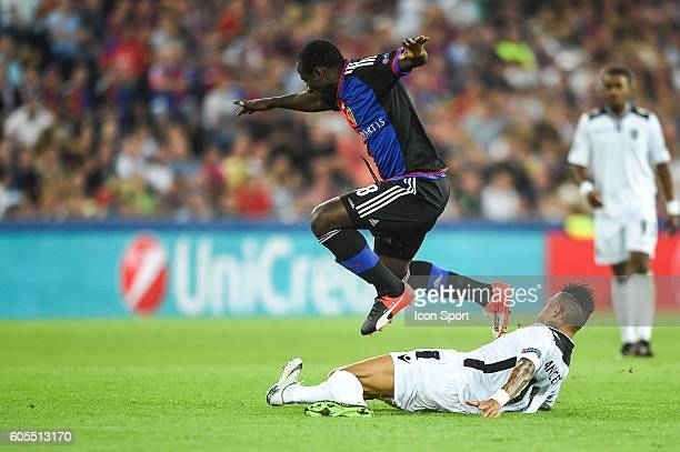 Seydou Doumbia of Basel and Anicet Abel of Ludogorets during the Uefa Champions League match between Basel Fc and PFC Ludogorets Razgrad on September...