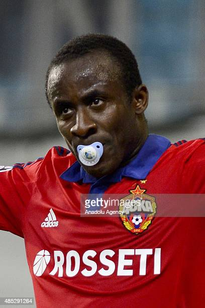 Seydou Doumbia of CSKA Moscow celebrates with a baby teat in his mouth after scoring a goal during a UEFA Champions League playoff match between CSKA...