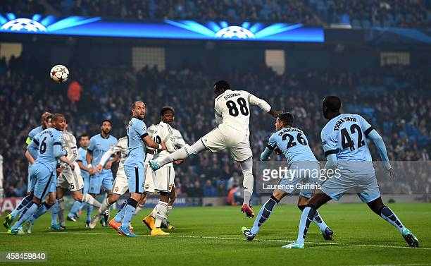 Seydou Doumbia of CSKA Moscow scores the opening goal during the UEFA Champions League Group E match between Manchester City and CSKA Moscow on...