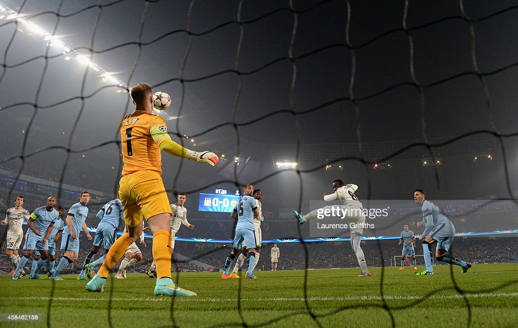 Seydou Doumbia of CSKA Moscow scores the opening goal during the UEFA Champions League Group E match between Manchester City and CSKA Moscow on November 5, 2014 in Manchester, United Kingdom.