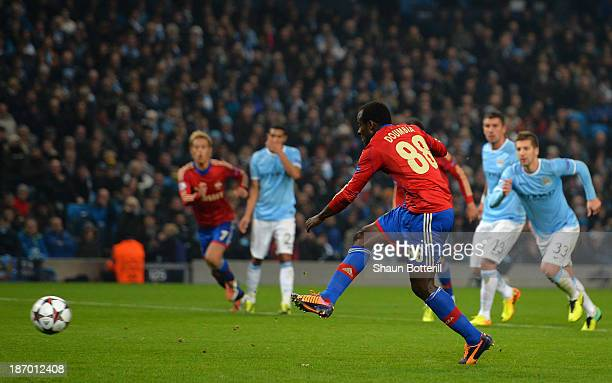 Seydou Doumbia of CSKA scores his team's second goal from a penalty during the UEFA Champions League Group D match between Manchester City and CSKA...