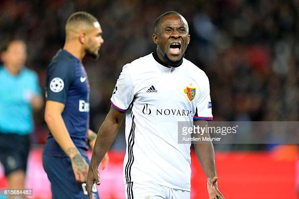 Seydou Doumbia of FC Basel 1893 reacts after missing a shot during the UEFA Champions League match between Paris SaintGermain and FC Basel 1893 at...