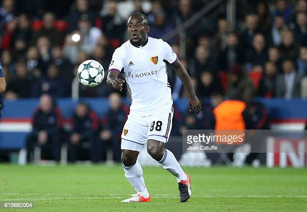 Seydou Doumbia of FC Basel in action during the UEFA Champions League match between Paris Saint Germain and FC Basel at Parc des Princes on October...