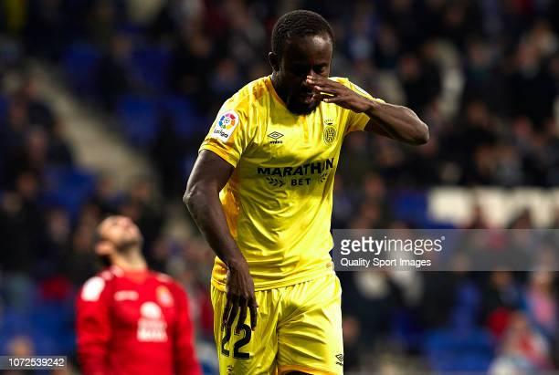 Seydou Doumbia of Girona celebrates after scoring his sides third goal during the La Liga match between RCD Espanyol and Girona FC at RCDE Stadium on...
