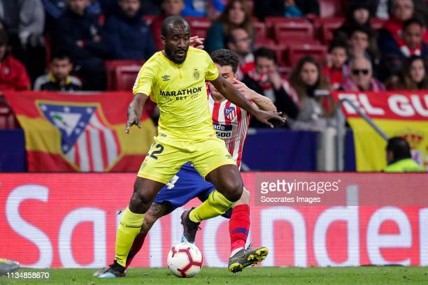 Seydou Doumbia of Girona during the La Liga Santander match between Atletico Madrid v Girona at the Estadio Wanda Metropolitano on April 2 2019 in...