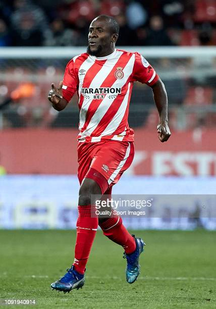 Seydou Doumbia of Girona FC during the Copa del Rey Round of 16 match between Girona FC and Atletico de Madrid at Montilivi Stadium on January 09...