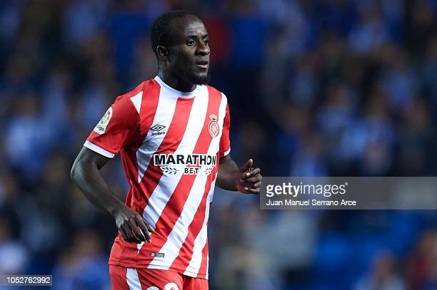 Seydou Doumbia of Girona FC looks on during the La Liga match between Real Sociedad and Girona FC at Estadio Anoeta on October 22 2018 in San...