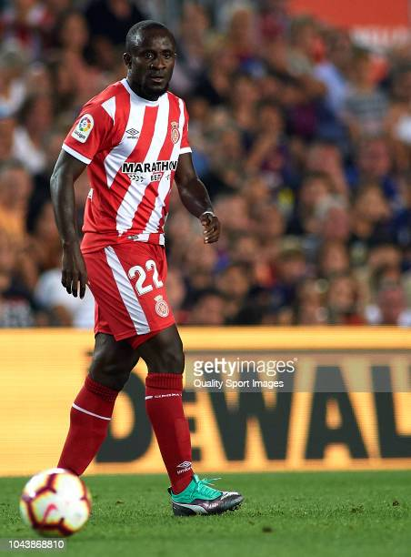 Seydou Doumbia of Girona looks on during the La Liga match between FC Barcelona and Girona FC at Camp Nou on September 23 2018 in Barcelona Spain