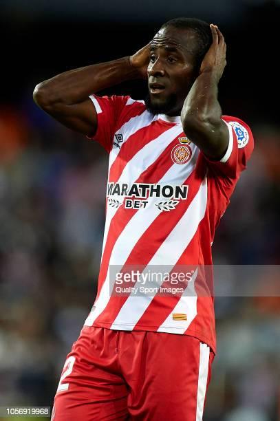 Seydou Doumbia of Girona reacts during the La Liga match between Valencia CF and Girona FC at Estadio Mestalla on November 3 2018 in Valencia Spain