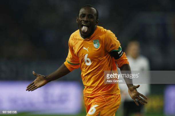 Seydou Doumbia of Ivory Coast celebrates scoring his team's second goal during the international friendly match between Germany and Ivory Coast at...