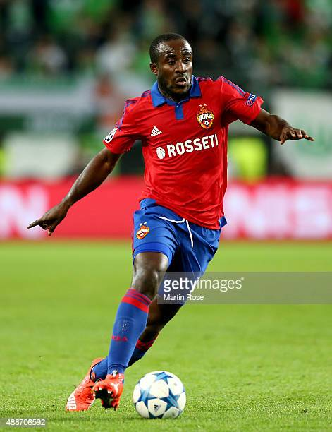Seydou Doumbia of Moscow runs with the ball during the UEFA Champions League group B match between VfL Wolfsburg and CSKA Moscow at Volkswagen Arena...