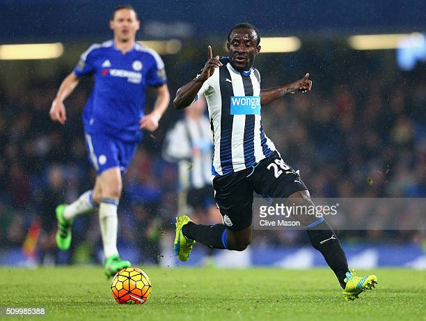 Seydou Doumbia of Newcastle United in action during the Barclays Premier League match between Chelsea and Newcastle United at Stamford Bridge on...
