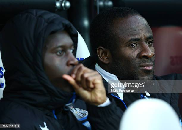 Seydou Doumbia of Newcastle United on the bench during the Barclays Premier League match between Newcastle United FC and West Bromwich Albion FC at...