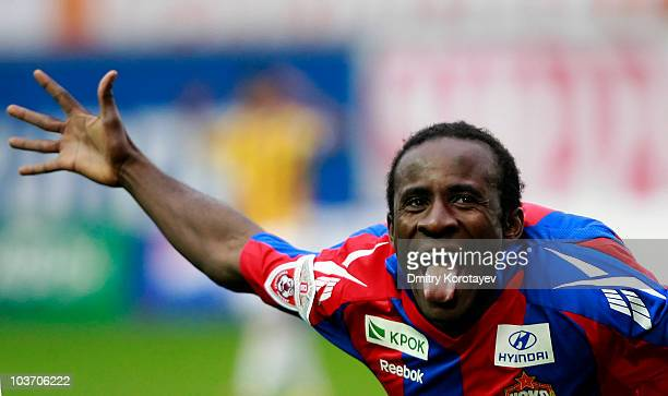Seydou Doumbia of PFC CSKA Moscow celebrates after scoring a goal during the Russian Football League Championship match between PFC CSKA Moscow and...
