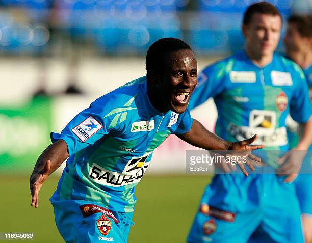 Seydou Doumbia of PFC CSKA Moscow celebrates after scoring a goal during the Russian Football League Championship match between PFC Spartak Nalchik...