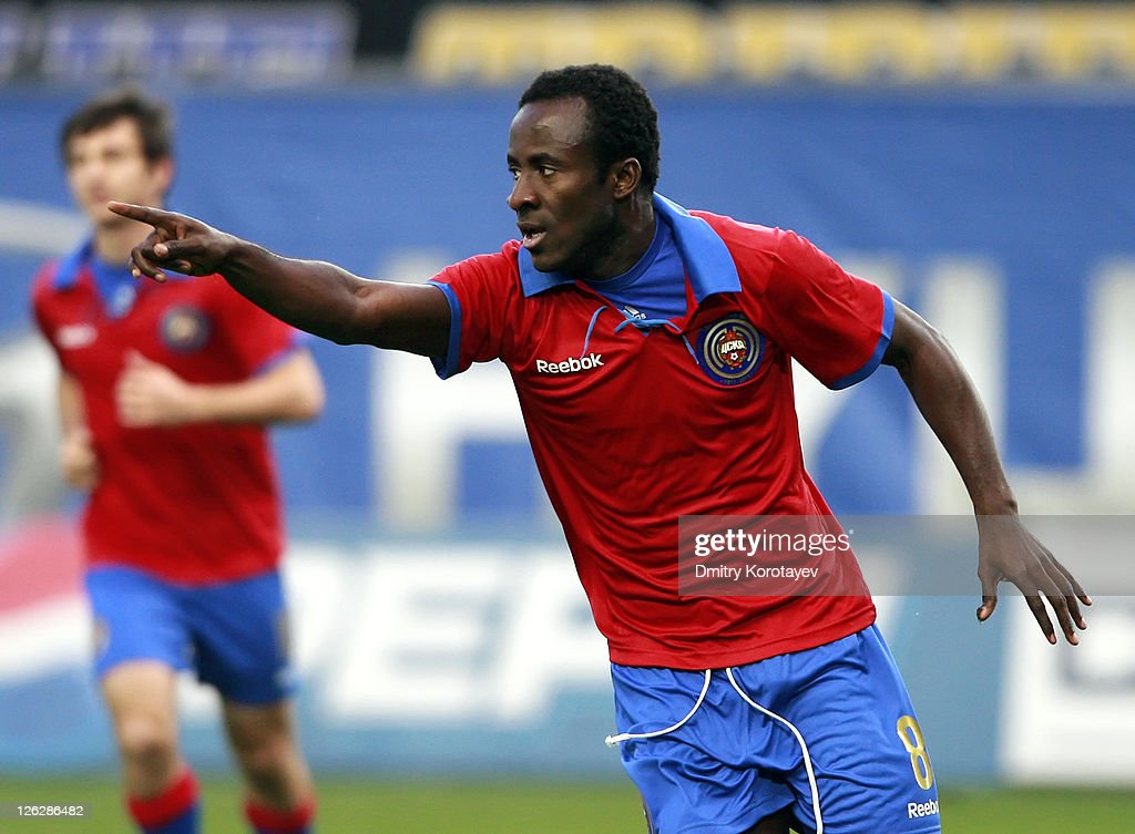 Seydou Doumbia of PFC CSKA Moscow celebrates after scoring a goal during the Russian Premier League match between PFC CSKA Moscow and FC Volga Nizhny Novgorod at Arena Khimki on September 24, 2011 in Khimki, Russia.