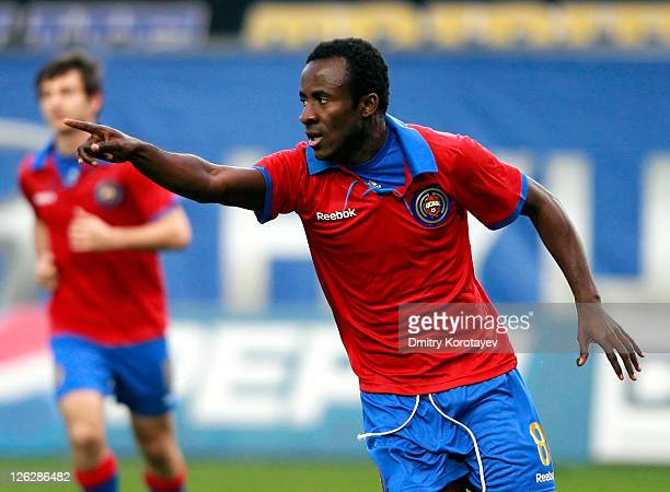 Seydou Doumbia of PFC CSKA Moscow celebrates after scoring a goal during the Russian Premier League match between PFC CSKA Moscow and FC Volga Nizhny...