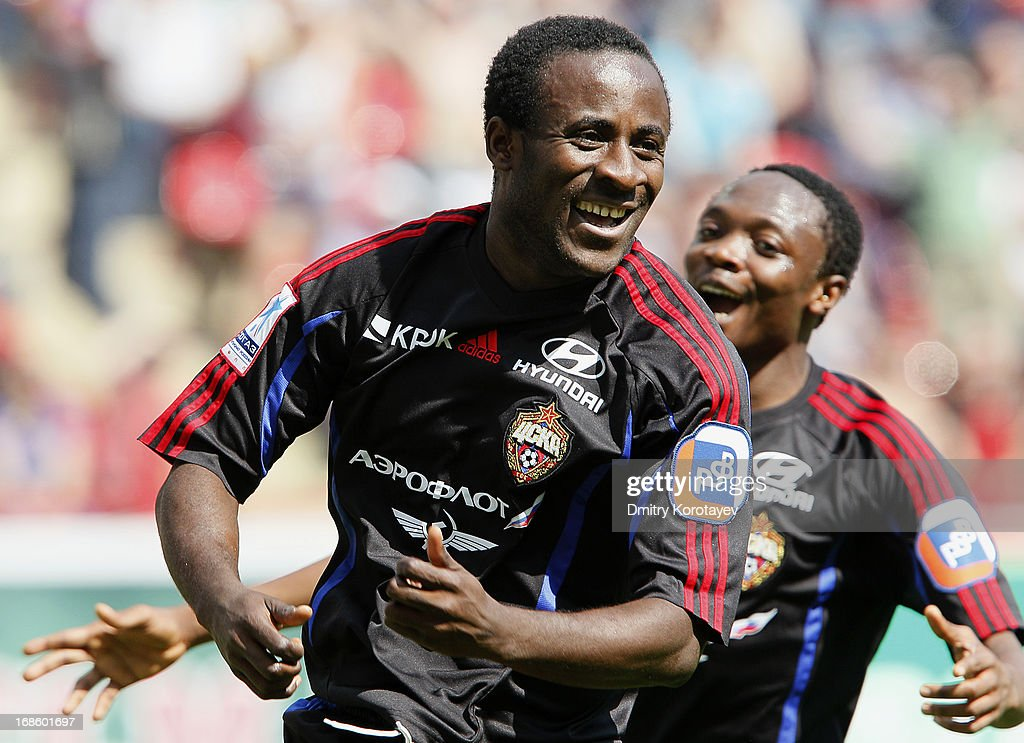 Seydou Doumbia of PFC CSKA Moscow celebrates after scoring a goal during the Russian Premier League match between FC Lokomotiv Moscow and PFC CSKA Moscow at Lokomotiv Stadium on May 12, 2013 in Moscow, Russia.