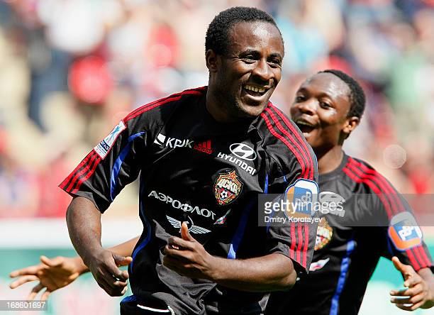 Seydou Doumbia of PFC CSKA Moscow celebrates after scoring a goal during the Russian Premier League match between FC Lokomotiv Moscow and PFC CSKA...
