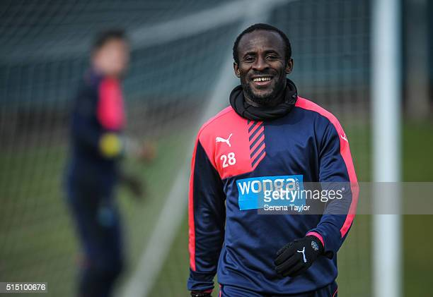 Seydou Doumbia smiles during the Newcastle United training session at The Newcastle United Training Centre on March 12 in Newcastle upon Tyne England