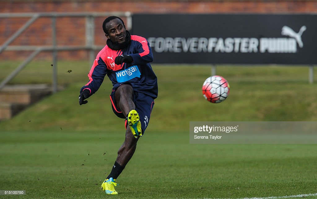 Seydou Doumbia strikes the ball during the Newcastle United training session at The Newcastle United Training Centre on March 12, 2016, in Newcastle upon Tyne, England.