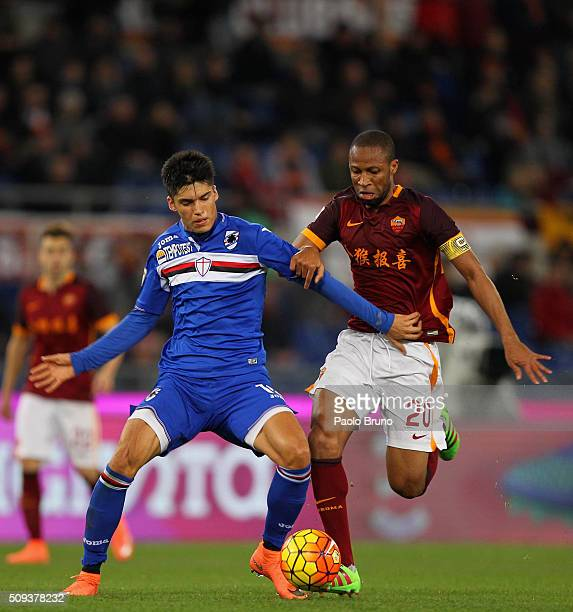 Seydou Keita of AS Roma competes for the ball with Joaquin Correa of UC Sampdoria during the Serie A match between AS Roma and UC Sampdoria at Stadio...