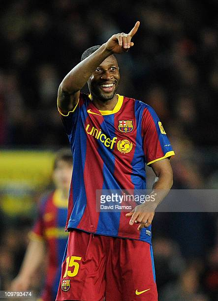 Seydou Keita of Barcelona celebrates after scoring his team's first goal during the La liga match between Barcelona and Real Zaragoza at Camp Nou on...