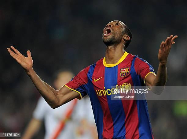Seydou Keita of Barcelona celebrates scoring during the UEFA Champions League quarter final first leg match between Barcelona and Shakhtar Donetsk at...