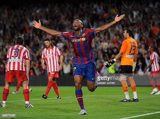 Seydou Keita of Barcelona celebrates scoring his side's fourth goal during the La Liga match between Barcelona and Atletico Madrid at the Camp Nou...