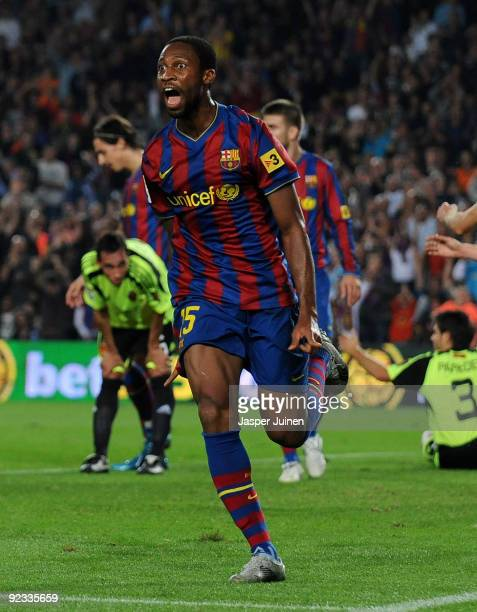 Seydou Keita of FC Barcelona celebrates scoring his side's opening goal during the La Liga match between FC Barcelona and Real Zaragoza at the Camp...