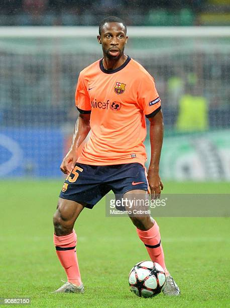 Seydou Keita of FC Barcelona in action during the UEFA Champions League Group F match between FC Inter Milan and FC Barcelona at the Meazza Stadium...