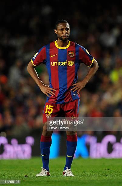 Seydou Keita of FC Barcelona looks on during the La Liga match between Barcelona and Deportivo La Coruna at Camp Nou Stadium on May 15 2011 in...