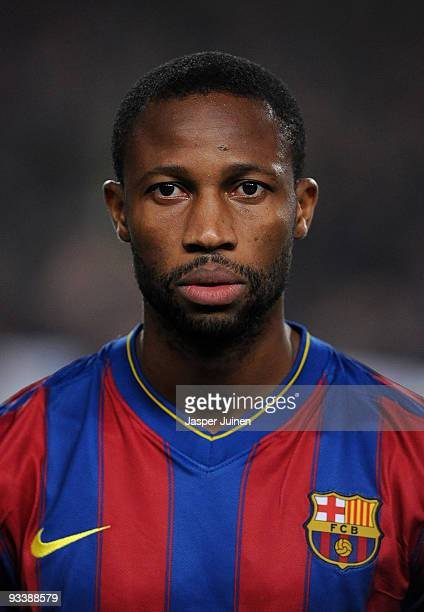 Seydou Keita of FC Barcelona looks on prior to the start of the UEFA Champions League group F match between FC Barcelona and Inter Milan at the Camp...