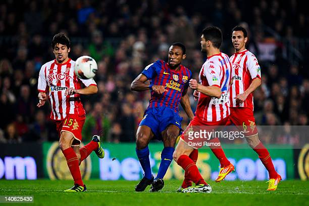 Seydou Keita of FC Barcelona scores his team's secong goal during the La Liga match between FC Barcelona and Sporting Gijon at Camp Nou on March 3...