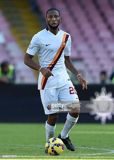 Seydou Keita of Roma in action during the Serie A match between SSC Napoli and AS Roma at Stadio San Paolo on November 1 2014 in Naples Italy