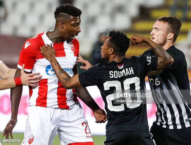 Seydouba Soumah of Partizan fights with the Mitchell Donald of Crvena Zvezda during the Serbian Super League Play Off match at the stadium Rajko...