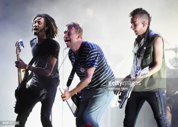 Seye Adelekan Damon Albarn and Jeff Wootton of the Gorillaz perform onstage during the Meadows Music and Arts Festival Day 2 at Citi Field on...