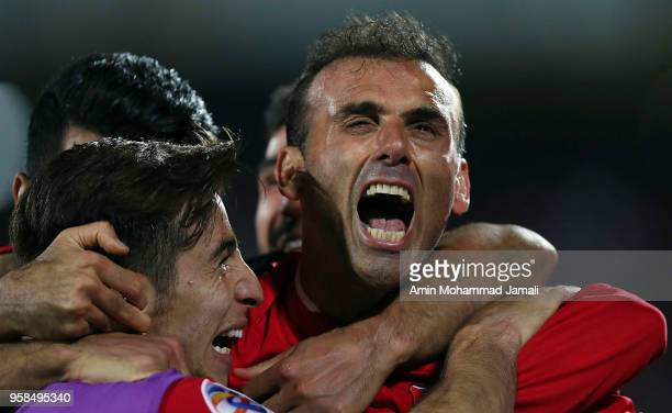 Seyed Jalal Hosseini of Persepolis celebrates after second goal during AFC Champions League match between Persepolis and Al Jazira at Azadi Stadium...