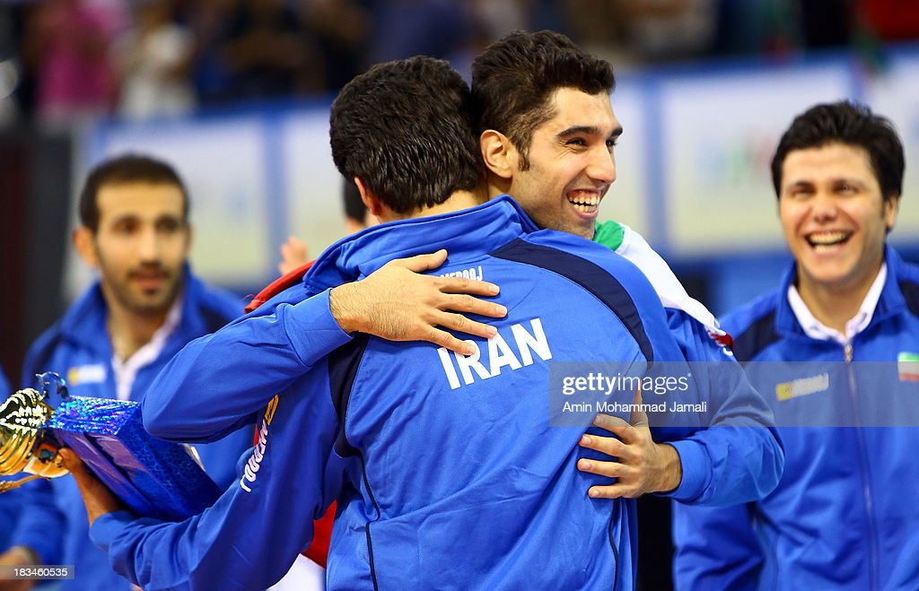 Seyed mohammad Mousavi in celebration during 17th Asian Men's Volleyball Championship between Iran And Korea on October 6, 2013 in Dubai, United Arab Emirates.