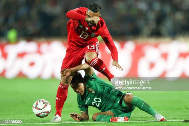 Seyed Saman Ghodoos in action during the international friendly match between Iran and Bolivia at Azadi Stadium on October 16 2018 in Tehran Iran
