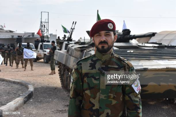 Seyf Abu Bakr one of the commanders of the Free Syrian Army delivers a speech during Free Syrian Army Members' military training for preparing...