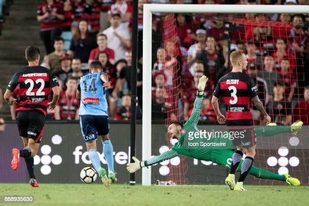 sf12 gets around Western Sydney Wanderers goalkeeper Vedran Janjetovic to score at the Hyundai ALeague match between Western Sydney Wanderers and...