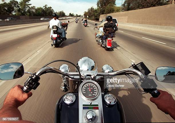 SFBikers#1db11–10 A view from one of the many thousands of motorcycles in the 13th Annual Love Ride sponsored by Harley Davidson of Glendale The...
