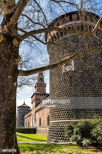 sforza castle in milan (italy) - pjphoto69 stock pictures, royalty-free photos & images
