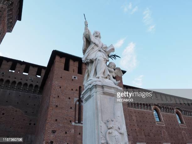 Sforza Castle. Piazza Castello square. Milan. Lombardy. Italy. Europe.