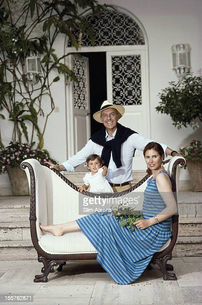 Sforza Marescotto dei Principi Ruspoli and his wife Pia Ruspoli pose with their daughter Giacinta Ortensia Rosa Maria dei Principi Ruspoli on the...