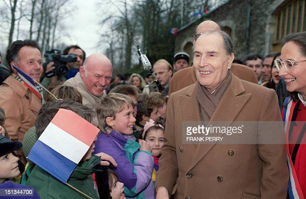 Ségolène Royal French Socialist MP welcomes 04 February 1992 in Arcais French President François Mitterrand during his visit to Marais Poitevin...