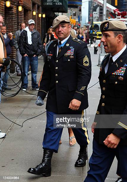 Sgt 1st Class Leroy Petry arrives to 'Late Show With David Letterman' at the Ed Sullivan Theater on September 7 2011 in New York City